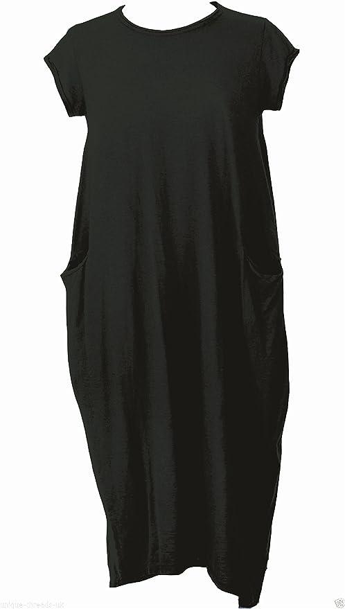 Womens Dress Ladies Italian Lagenlook Smock Design Scoop Neck Cap Sleeve Pocket