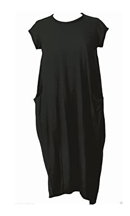 4de0e06574a New Italian Lagenlook Quirky Boho Jersey Soft Cotton Stretch Pocket Tunic  Dress (Black)