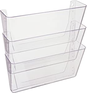 "Deflecto Office DocuPocket DEF73601RT, Wall File Organizer, Stackable, Letter Size, Clear, Set of 3, 13""W x 7""H x 4""D"