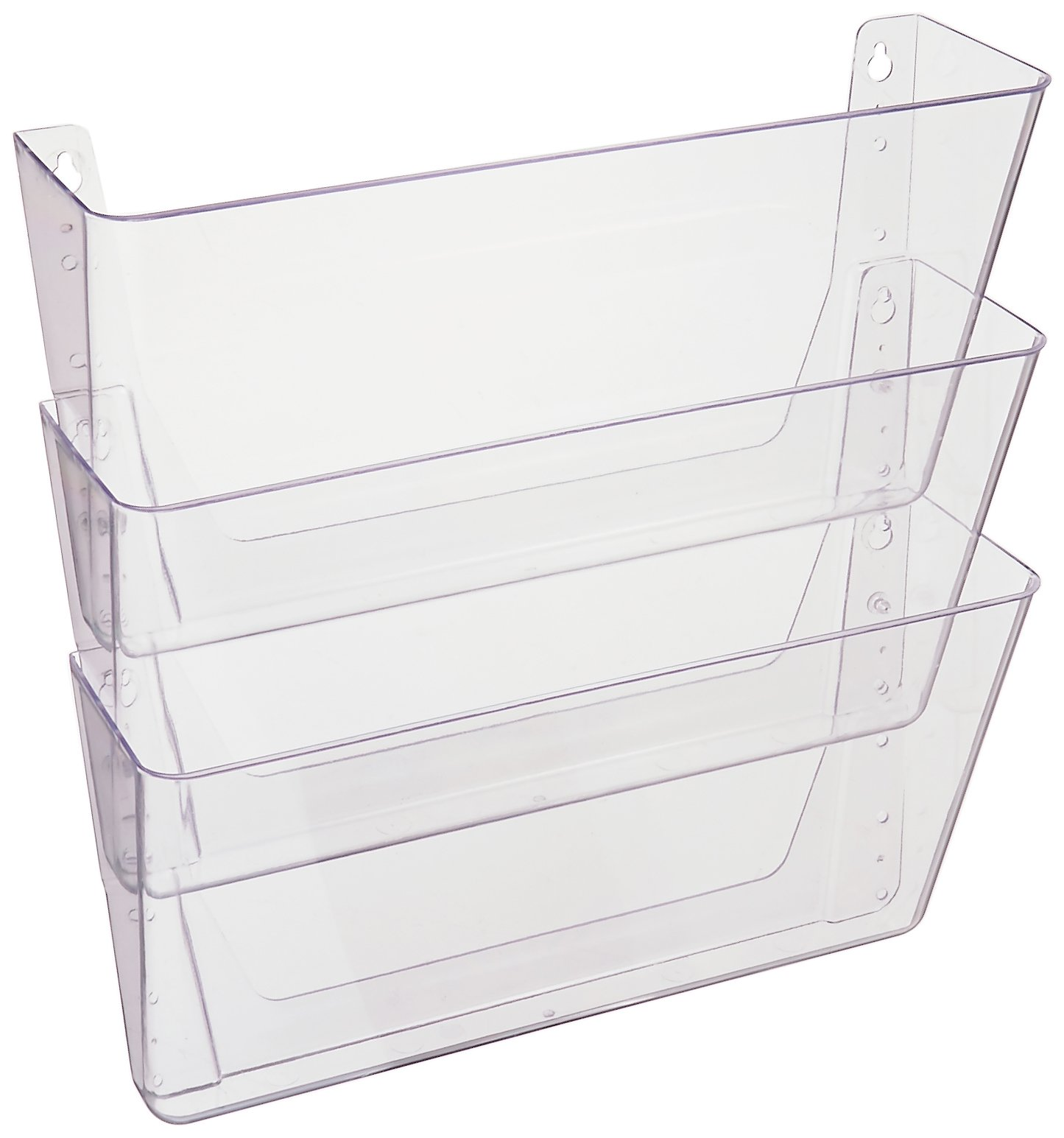 Deflecto DocuPocket, Wall File Organizer, Stackable, Letter Size, Clear, Set of 3, 13''W x 7''H x 4''D