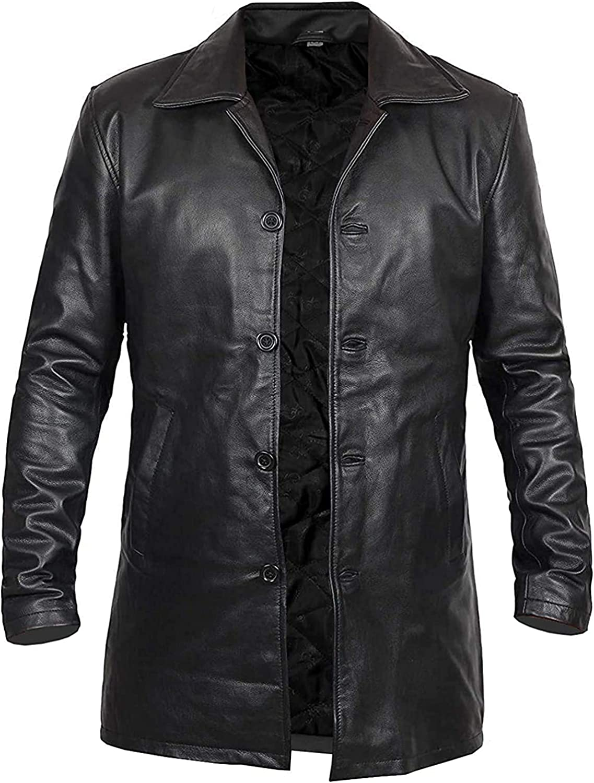 Abrigo de cuero negro para hombre - Abrigo largo de cuero real para hombre - Chaqueta clásica de cuero - Abrigos de cuero largos negros