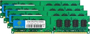 Rasalas PC2-5300 8GB Kit (4x2GB) DDR2 667MHz DIMM DDR2-667 Udimm DDR2 2GB PC-5300U 1.8V CL5 240-Pin Desktop Computer RAM Memory Modules
