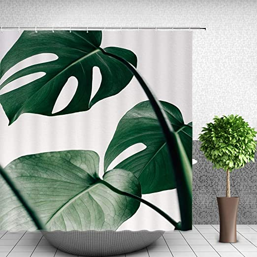 Shower Curtain Tropical Plant Leaves Printed Polyester Hooks Bath Curtain S-XL