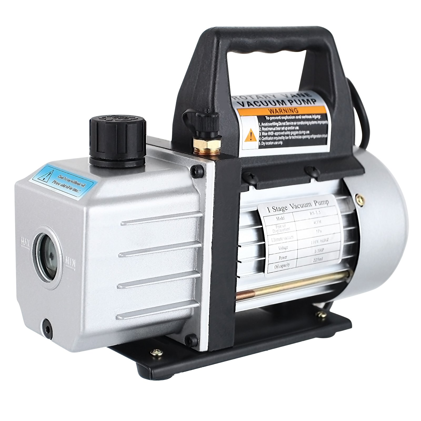 SUNCOO 3CFM Electric Vacuum Pump Single Stage Rotary Vane Deep 110V HVAC AC Refrigerant Charge 1/4HP, Black