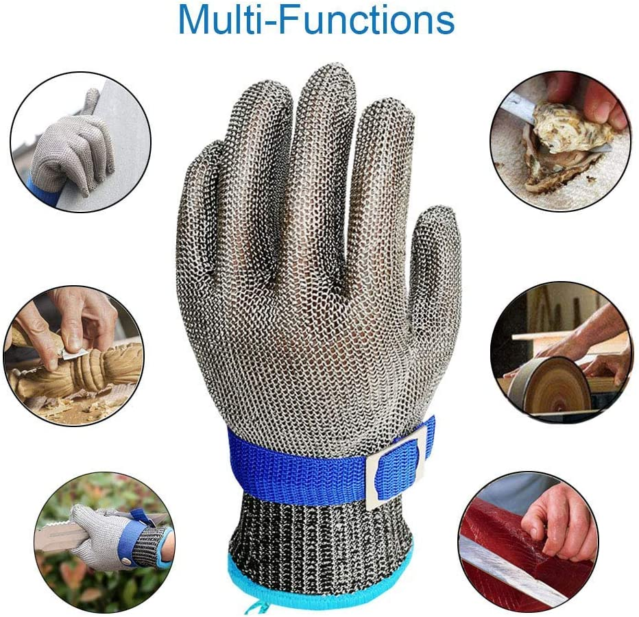 Schwer Cut Resistant Glove-Stainless Steel Wire Metal Mesh Butcher Safety Work Glove for Meat Cutting, fishing (Large) - -