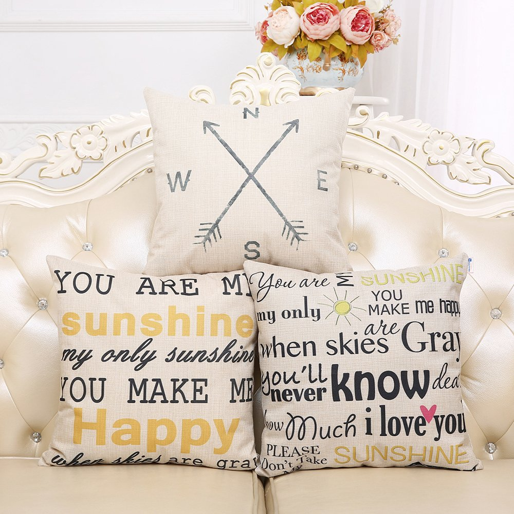Anickal 18 x 18 Standard Size Cotton Linen Throw Pillow Case Cover with Quote Print COMIN18JU067871