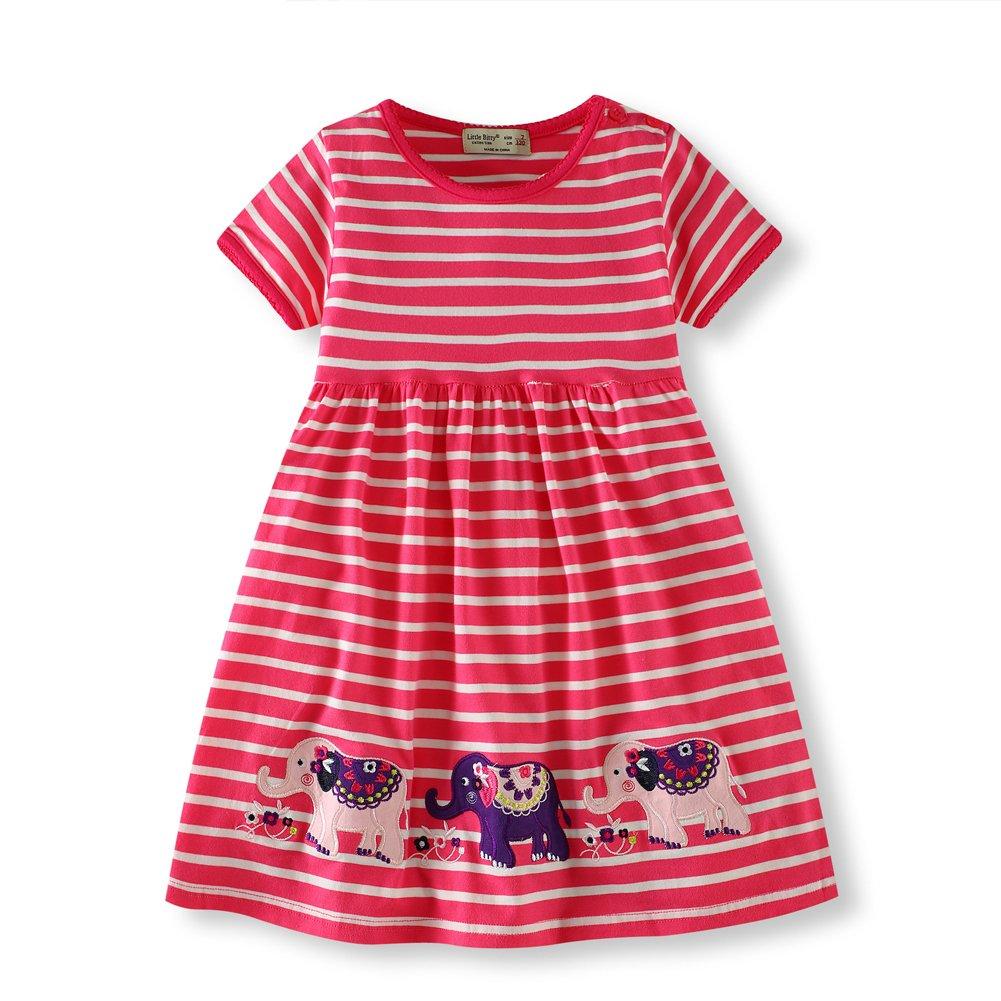 Hsctek Girls' Casual Dress, Short Sleeve Cotton Playwear, Cute Printing Tunic for Summer(6T/6-7YRS, Red Elephant)
