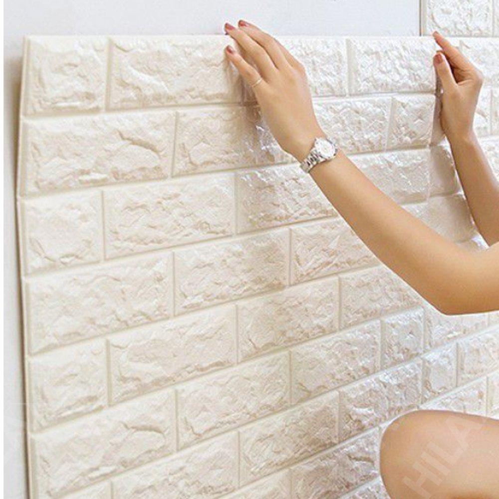 【Hilax】 3D壁紙パネル 3Dウォールステッカー (厚手タイプ) 立体自己粘着シール ホワイトレンガ調 70cm×77cm DIY (② 10枚セット) B071HN7NHK② 10枚セット