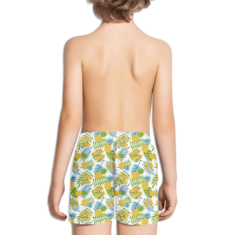 Hand Drawn Pineapple Shorts Swim for Kid Quick Dry Beach Printed Swim Dry Tropical