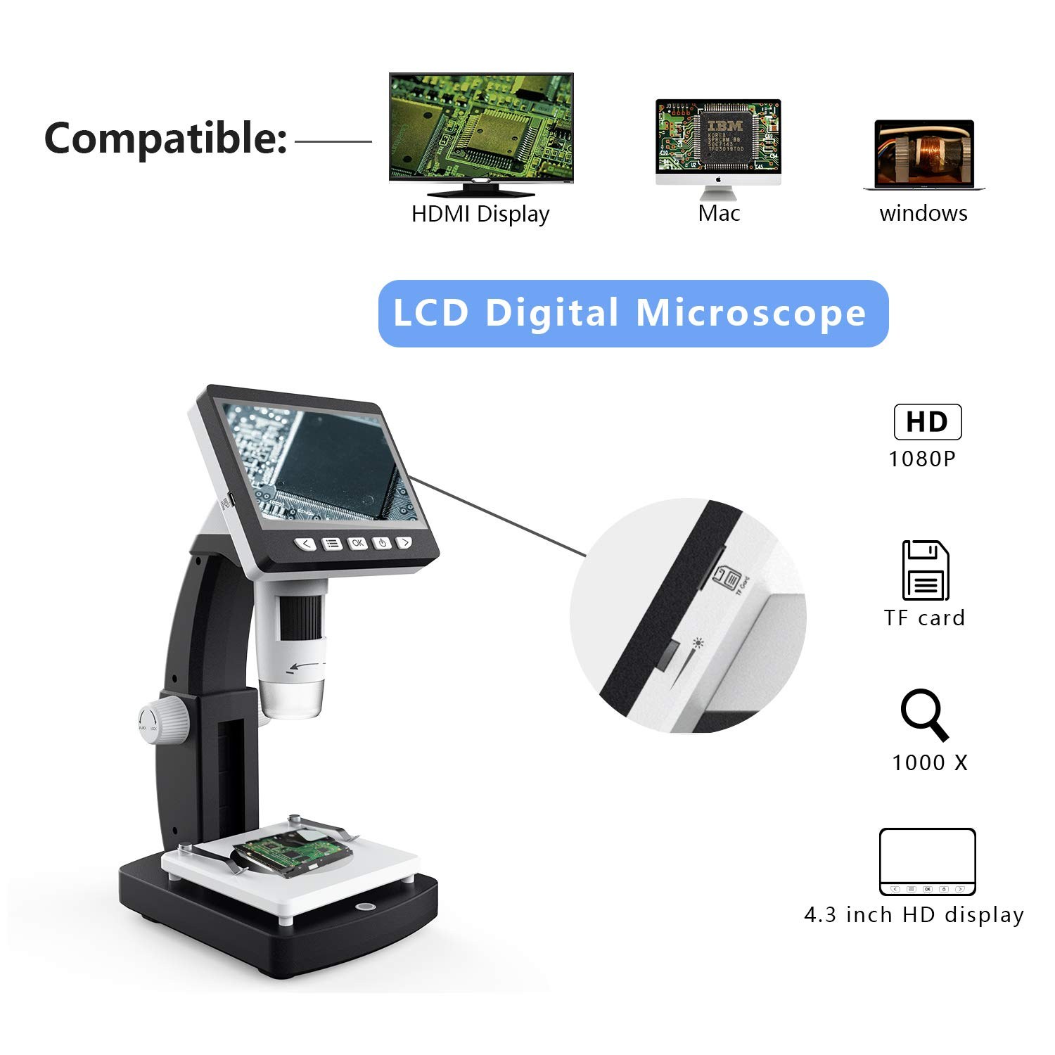 New Landing 4.3 Inch 50/1000X HDMI Portable USB Digital Microscope by New Landing