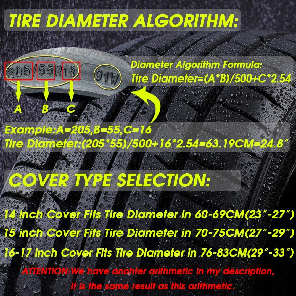 """Trailer RV 15 inch for Diameter 27/""""-29/"""" SUV Universal Fit for Jeep YANKING Spare Tire Cover Truck,Black Waterproof Soft PVC Tire Covers with Anti-Lost Rope"""