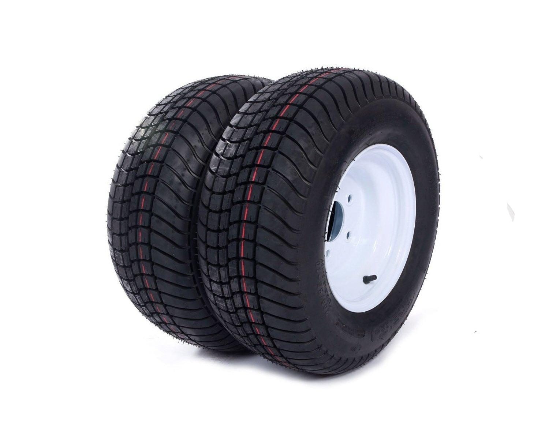 2 Trailer Tire & Rims 20.5 X 8 X 10 205/65-10 20.5/8-10 20.5/800-10 5 Lug White(Come with Car Sunlight Snow Shield Matte Black)