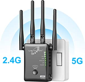 VICTONY WA1200-1200Mbps Dual Band WiFi Range Extender with 4 External 3dBi Antennas Signal Booster with 360 Degree WiFi Repeater