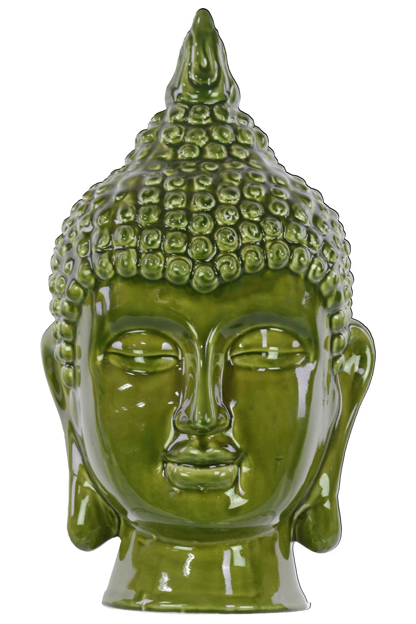 Urban Trends Ceramic Buddha Head Decor, Gloss Olive Drab Urban Trends Collection 40093