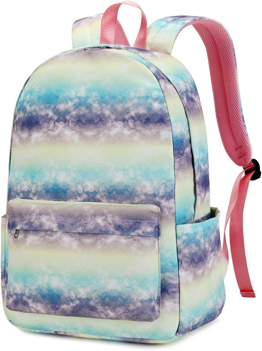 CAMTOP Girls Backpack for School Kids Bookbag Water Resistant College Tie Dye Backpack (Y878-tie dye 1)