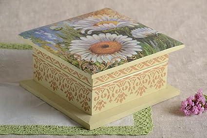 Madeheart Caja artesanal de madera de decoupage joyero original regalo para mujer