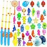 DAIZIKUAI Bath Toys for Toddlers-Magnetic Fishing Game Pool Toys, 1 Net Bag Storage Bag Containing What You Need,Fish, Fishin