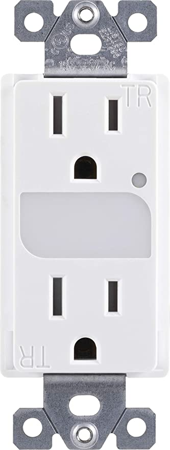 GE UltraPro Grounding Duplex Outlet with LED Guide Light, In Wall Receptacle, Tamper Resistant Outlets, Soft Glow Light, Sensor Light, 15A / 125VAC, UL Listed, White, Wallplate not included, 40967