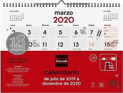 Calendario de pared 18 meses 2019-2020 español: Amazon.es: Oficina ...
