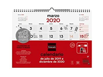Calendario Lunar 2020 Espana.Calendario De Pared 18 Meses 2019 2020 Espanol