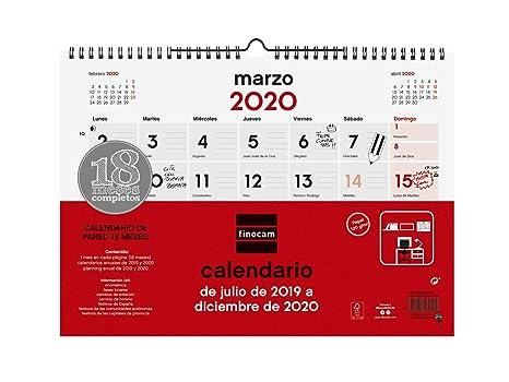 Calendario Marzo 2020.Calendario Da Parete 18 Mesi 2019 2020 Spagnolo Amazon It
