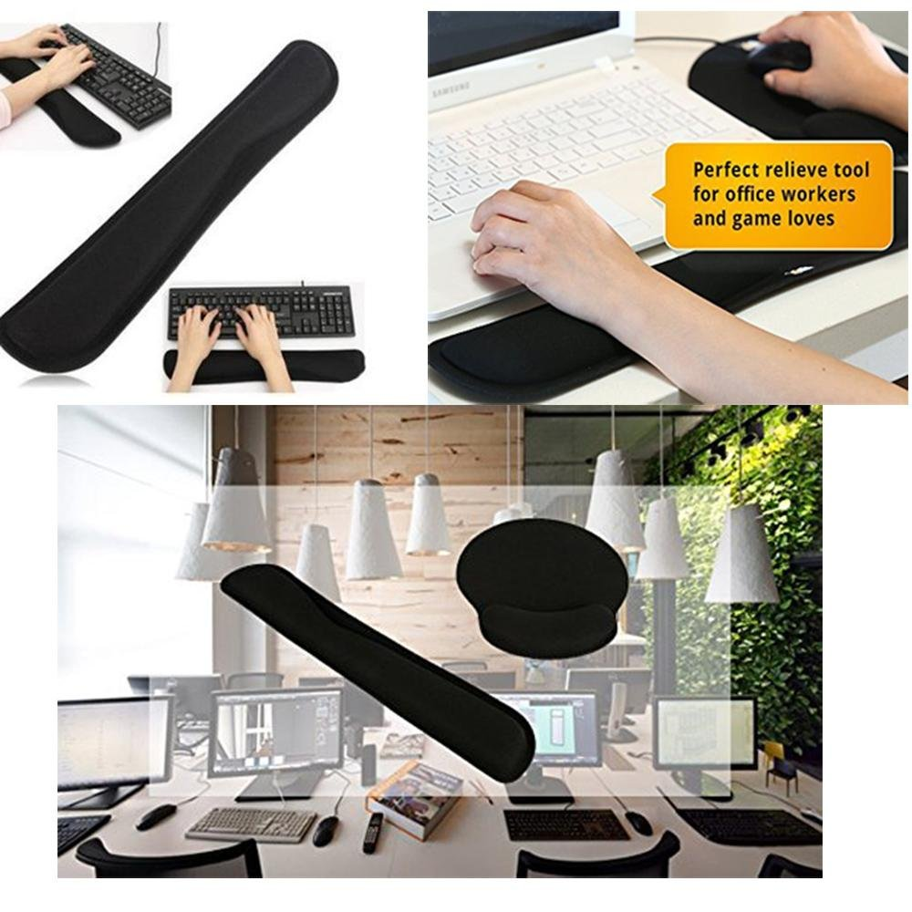 niceEshop(TM) Keyboard Wrist Rest Pad and Mouse Gel Wrist Rest Support, Ergonomic Wrist Cushion Support with Memory Foam for Computer and Laptop 6025779528207