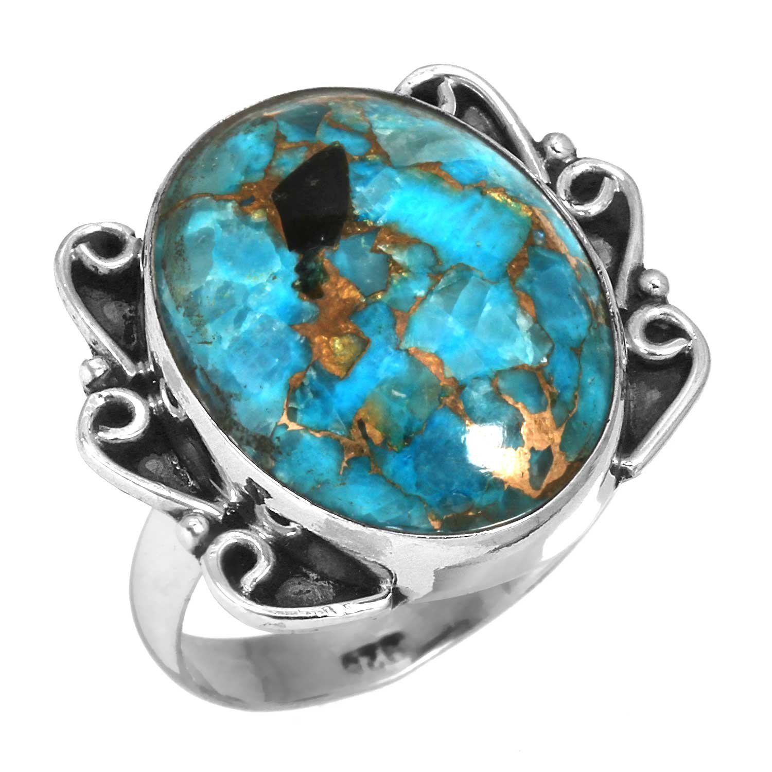 Solid 925 Sterling Silver Jewelry Natural Blue Copper Calcite Ring