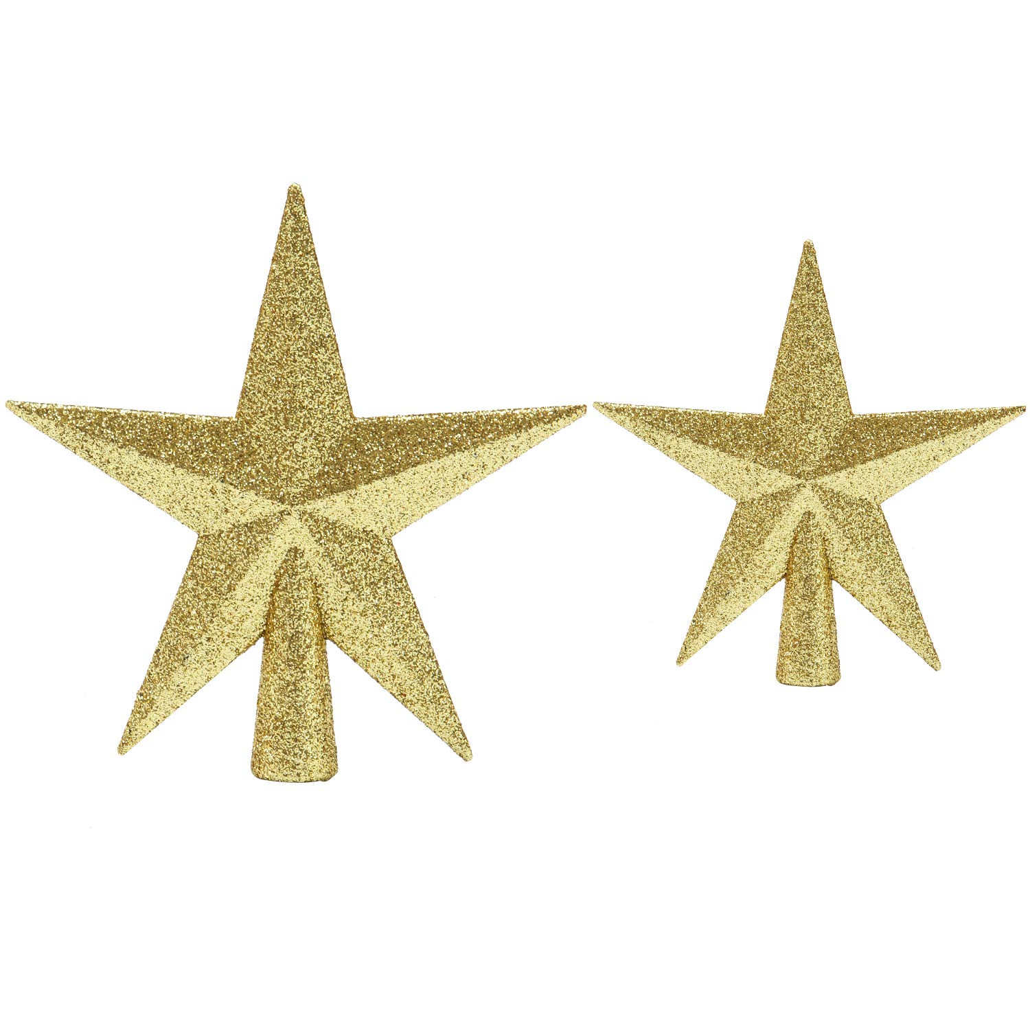 Aneco 2 Pack Glittered Christmas Tree Topper Star Treetop for Christmas Tree Decoration or Home Decor, Hard Plastic, 2 Size