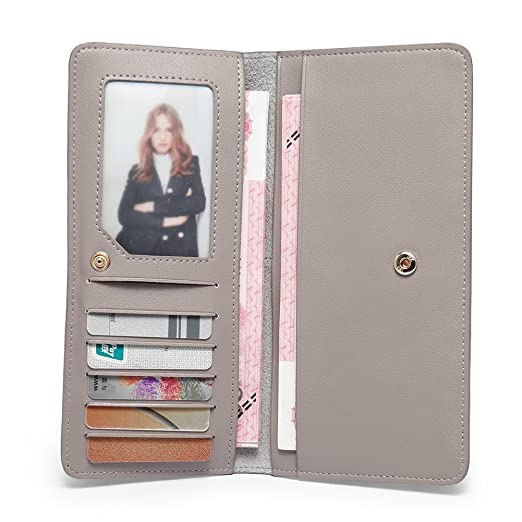 buy popular c9845 8f539 CALLAGHAN RFID Blocking Wallet for Women Slim Clutch Long Designer  Checkbook Lady Credit Card Holder