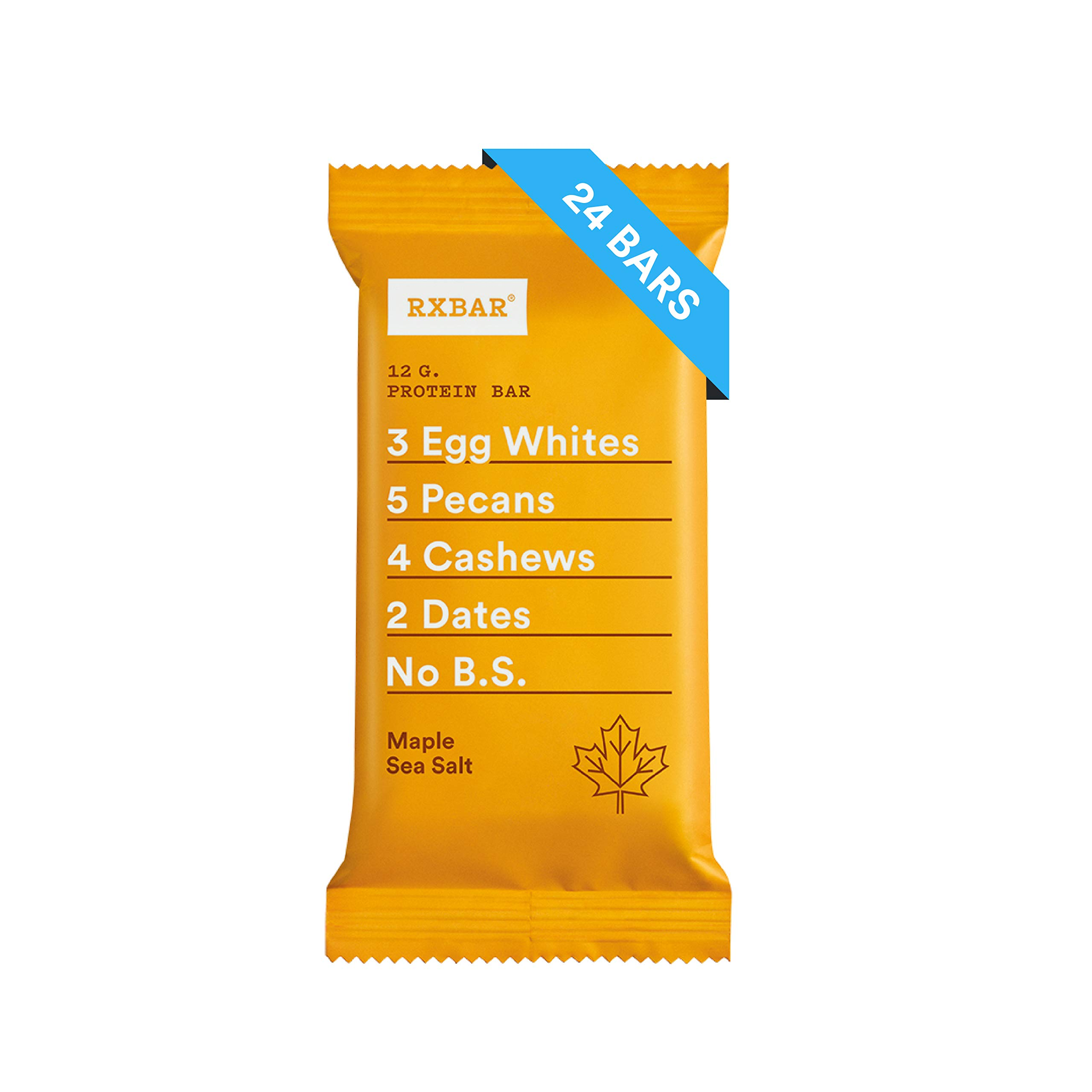 RXBAR Real Food Protein Bar, Maple Sea Salt, Gluten Free, 1.83oz Bars, 24 Count by RXBAR (Image #1)