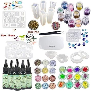 b8d25606db85 Resina Epoxi UV Transparente Cristal con 13 Moldes de Silicona para  Manualidades Joyas 36 Decoraciones Flores Brillo para Creaciones Pulseras  Collares ...