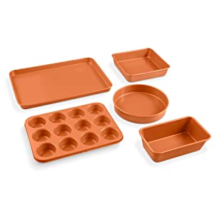 Gotham Steel 5 Piece Complete Copper Nonstick Bakeware Set with Durable Ceramic Coating, Heavy Duty 0.8MM Gauge Dishwasher Safe, Includes XL Cookie Sheet, Muffin Pan, Loaf Pan & Round Baking Tray