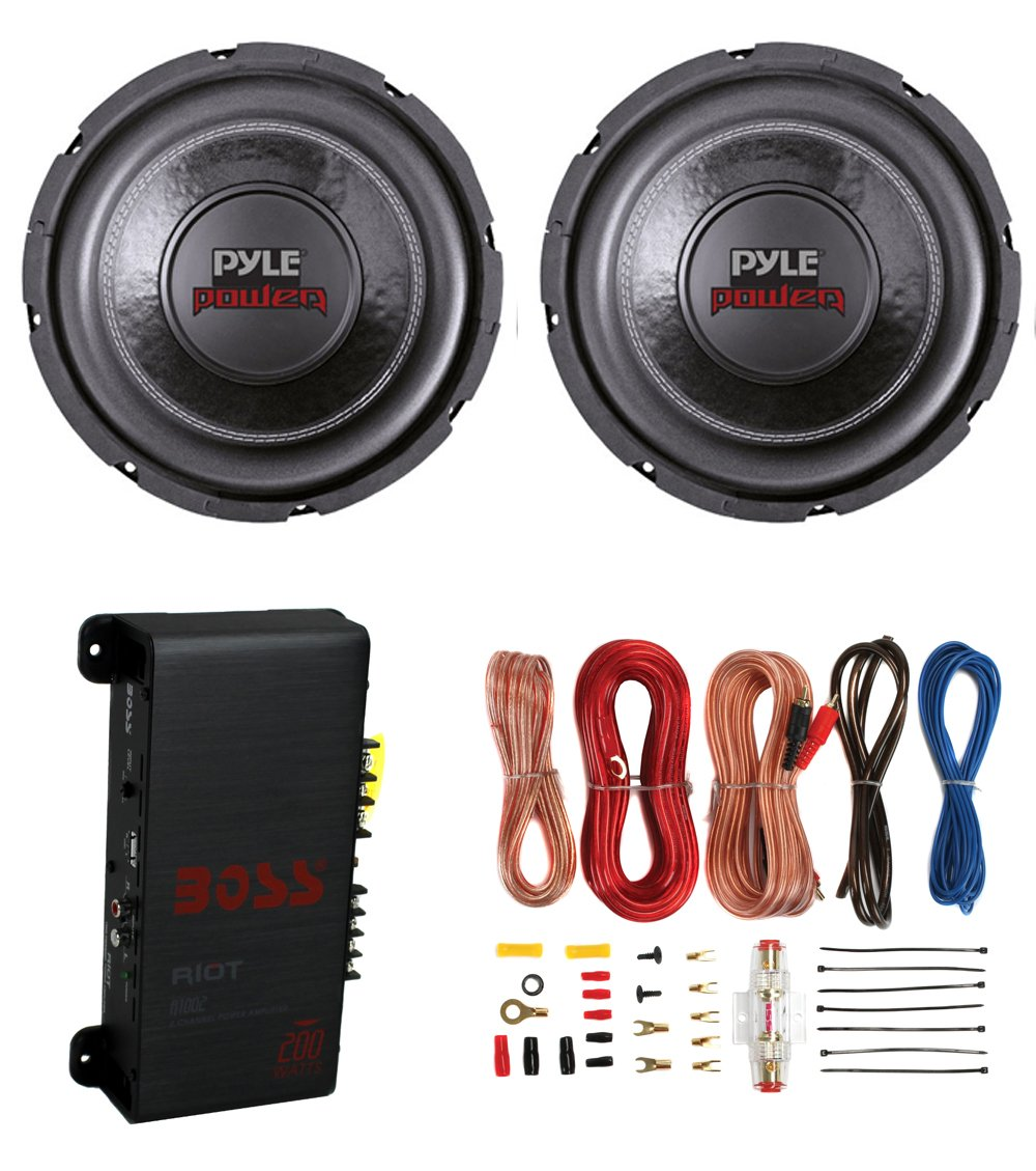 2 Pyle PLPW6D 6' 1200W Car Subwoofers Subs + R1002 200W 2-Channel Amp + Amp Kit