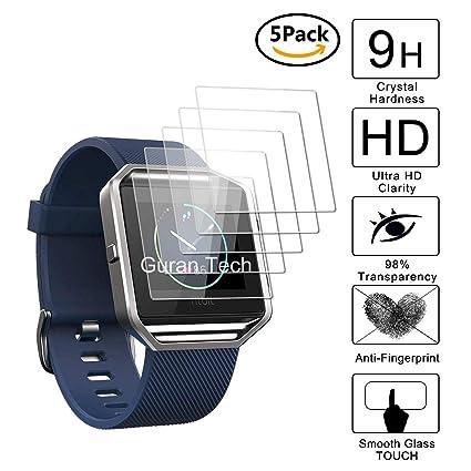 Guran [5-Unidades] Protector de Pantalla Vidrio Cristal Templado para Fitbit Blaze Smartwatch Cristal Vidrio Templado Film (9H, 2.5D Edge, 0.3mm)