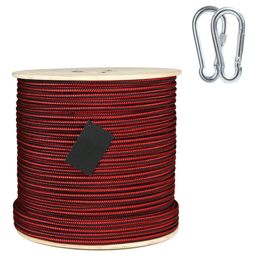 11.5 mmクライミングロープ、ホームファイア緊急用エスケープロープ多機能洗濯物用ハイキング用ケイビングキャンプエンジニアリングレスキュー用品、赤,25m  25m