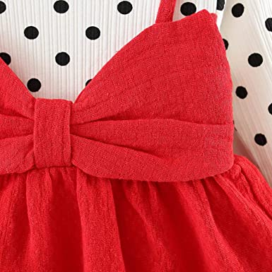 bef63367de4 Amazon.com  Toraway- Baby Girls Dress Newborn Clothes for 0-24 Months Long  Sleeve Dot Bowknot Party Princess Dress Outfits  Clothing