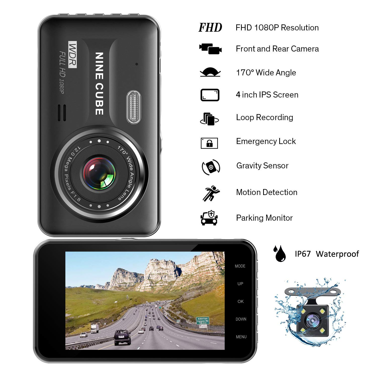 Dual Dash Cam Front and Rear, NINE CUBE 1080p HD Driving Recorder,Car DVR Dashboard Camera, 4'' IPS Screen, 170° Super Wide Angle, G Sensor, Loop Recording, Parking Monitor, Motion Detection by NINE CUBE (Image #2)