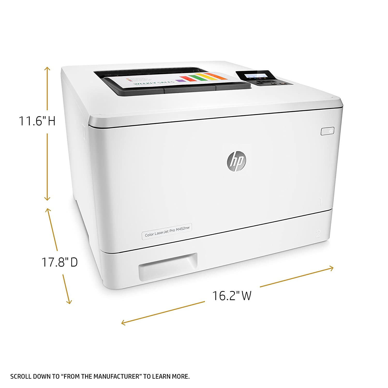 Amazon.com: HP Laserjet Pro M452nw Wireless Color Laser Printer with  Built-in Ethernet, Amazon Dash Replenishment Ready (CF388A): Electronics