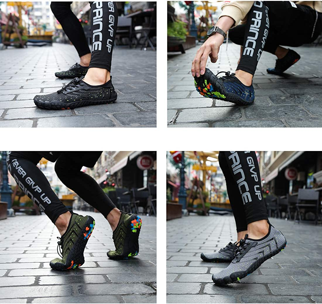 Dimerry Water Shoes for Women Men Barefoot Quick-Dry Wide Toe Aqua Socks for Swim Diving Surf Beach Pool Aerobics Sport