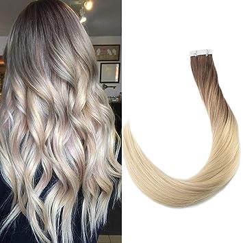 Amazoncom Full Shine 24 Inch Tape In Dark Brown Ombre Hair