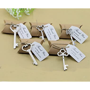 50pcs Wedding Favors Candy Box w/ Antique Skeleton Key Bottle Openers Escort Card Thank You Tag Pillow Box (Key Style - Mixed Silver)