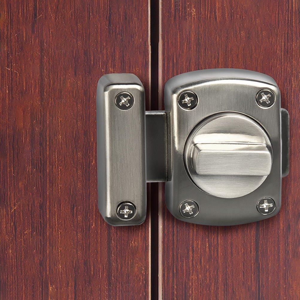 FOCCTS Serratura per Porta con 6 viti Argento Chiavistello Acciaio Inossidabile Spazzolato Finitura per Porta Armadietto Finestra