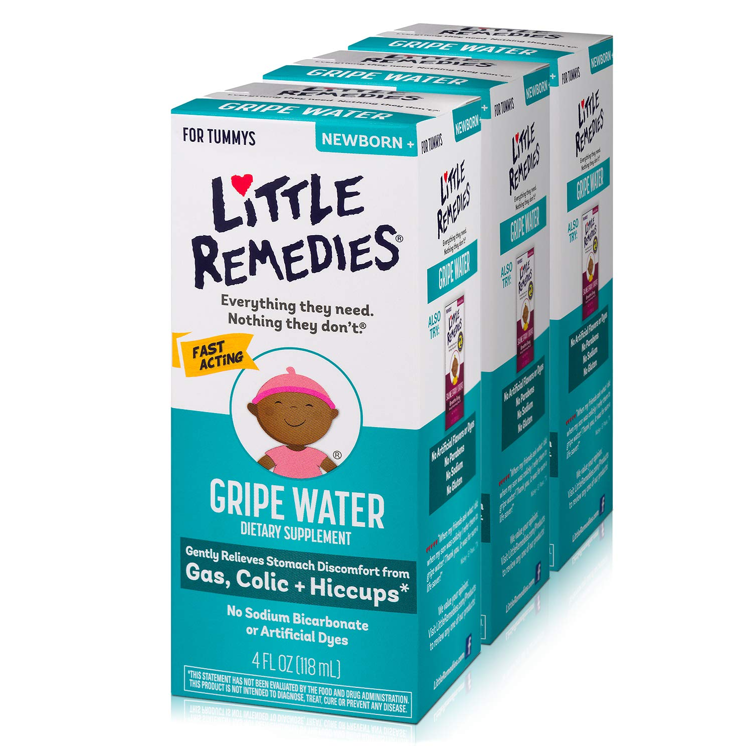 Little Remedies Gripe Water, Colic & Gas Relief, Safe for Newborns, 4 fl oz, 3 Pack