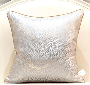 Avigers 18 x 18 Inch Square Silver Gray Gold Abstract Striped Embroidery Cushion Case Luxury Modern Throw Pillow Cover Decorative Pillow for Couch Living Room Bedroom Car