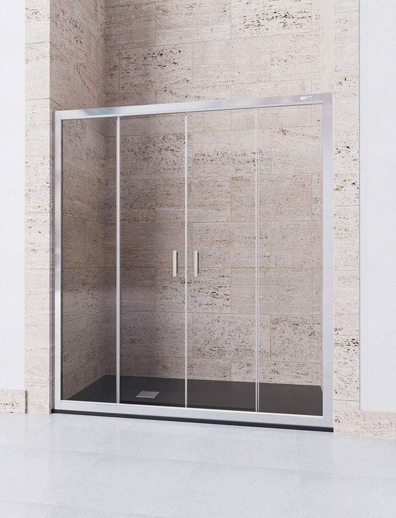 Modelo DENIS - Mampara de ducha frontal de 2 hojas fijas y 2 puertas correderas - Cristal 6 mm con ANTICAL INCLUIDO: Amazon.es: Bricolaje y herramientas