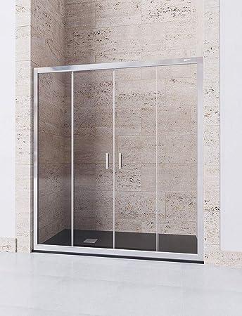 Modelo DENIS - Mampara de ducha frontal de 2 hojas fijas y 2 ...