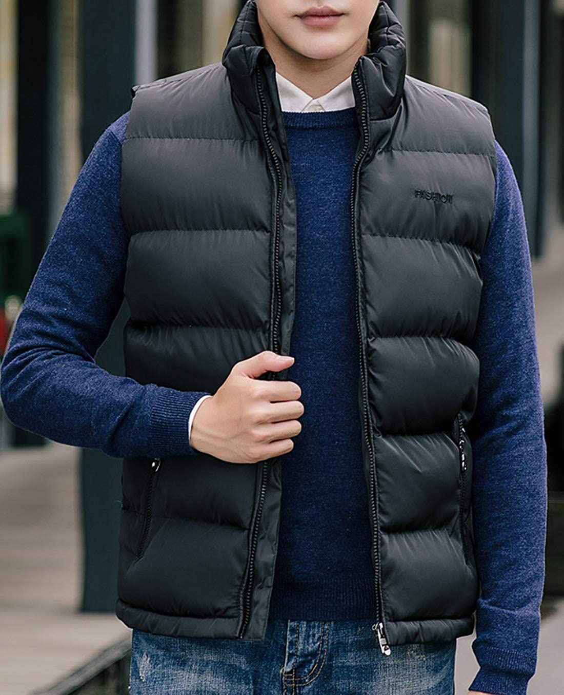 chouyatou Mens Basic Band Collar Zipper Cotton Padded Packable Quilted Vest Jacket