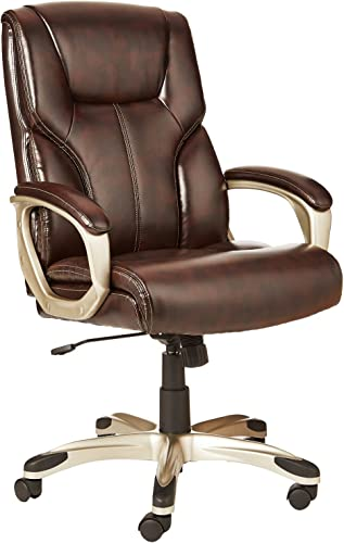 AmazonBasics High-Back Executive Swivel Office Desk Chair – Brown with Pewter Finish, BIFMA Certified