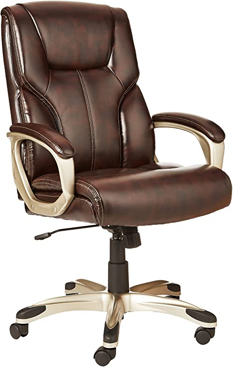 Amazonbasics High Back Executive Swivel Office Desk Chair Brown With Pewter Finish Bifma Certified