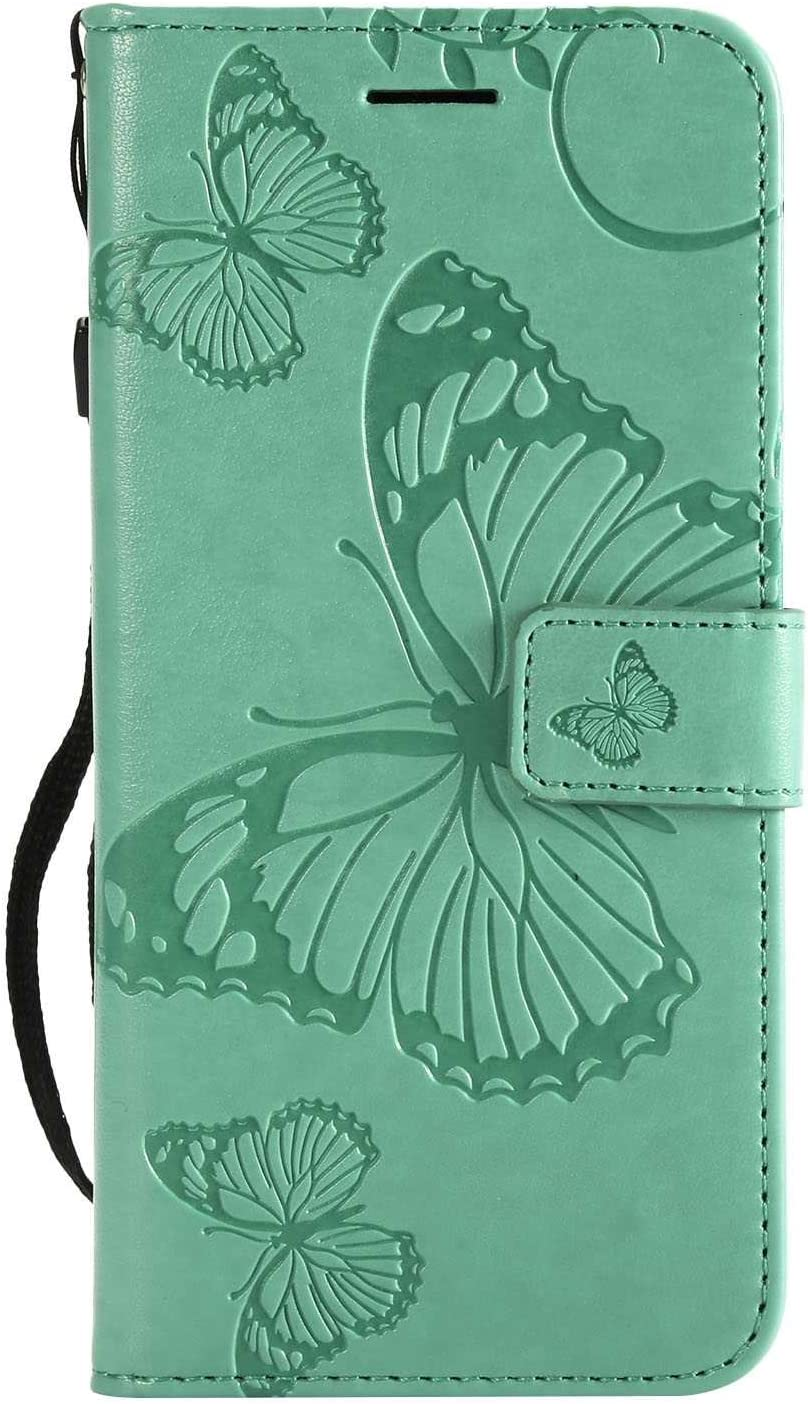 CUSKING Huawei P20 ケース Huawei P20 カバー ファーウェイ 手帳ケース カードポケット スタンド機能 蝶柄 スマホケース かわいい レザー 手帳 - グリーン